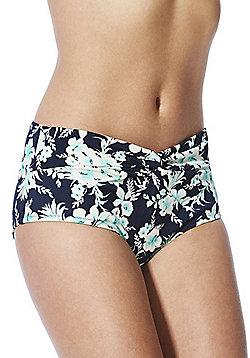 Marie Meili Tropical Print High Waisted Bikini Briefs - Blue