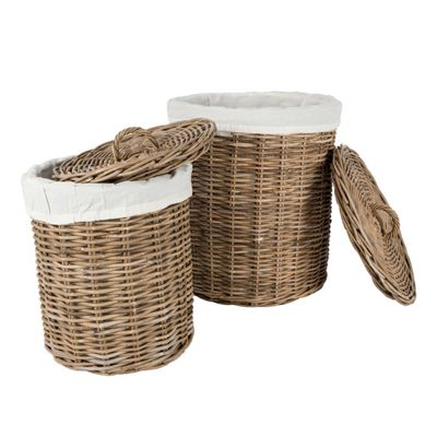 Homescapes Set of 2 Grey Round Rattan Laundry Baskets in 2 Sizes