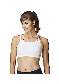 Women's Tri Strap Yoga Gym Sports Bra - White