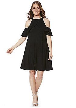 F&F Ruffle Trim Cold Shoulder Dress - Black
