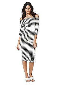 JDY Striped Bardot Dress - White