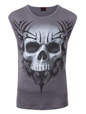 Spiral Solemn Skull Charcoal Sleeveless Grey Men's T-shirt