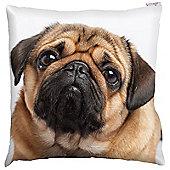 Puckator Pug Photo Design Scatter Cushion 49x49cm