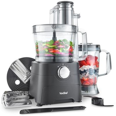 VonShef 1000W Food Processor - Matte Black