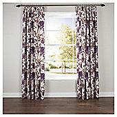 "Hand Painted Floral Pencil Pleat Curtains W163xL137cm (64x54"") - Plum"