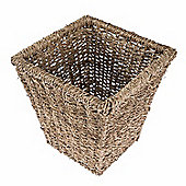 Homescapes Natural Willow Seagrass Square Wicker Waste Bin