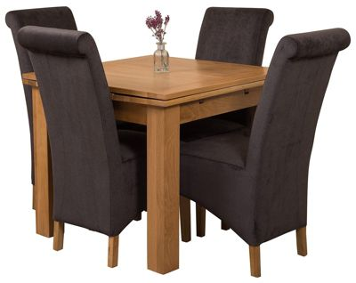 Richmond Small Extending Solid Oak Dining Set Table 4 Black Fabric Chairs Catalogue Number 299 4285