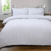 Highams Seersucker Duvet Cover with Pillowcase Bedding Set Silver White Charcoal - White