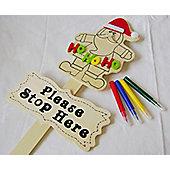 Santa Please Stop Here Sign - Colour Your Own Activity Set