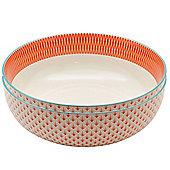 Large Patterned Fruit / Salad Bowl - Coral / Orange & Blue Aztec Design - 284mm - Box of 2