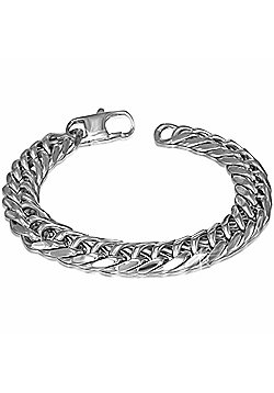 Urban Male Polished Stainless Steel Double Curb Link Bracelet For Men