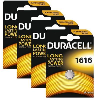4 x Duracell CR1616 3V Lithium Coin Cell Battery DL1616 1616 BR1616 ECR1616