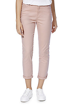 F&F Turn-Up Cropped Mid Rise Skinny Jeans - Blush
