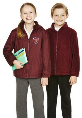 Unisex Embroidered Reversible School Fleece Jacket 11-12 years Burgundy