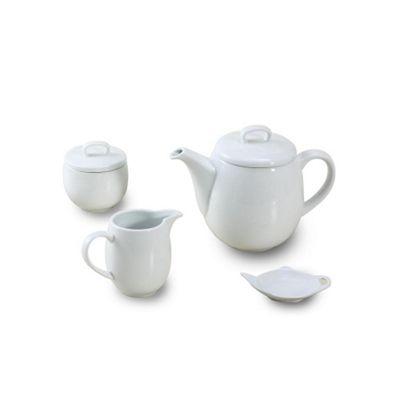 4 Piece Porcelain White Maine Tea Set