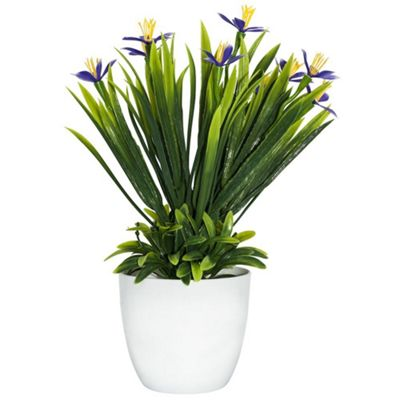 Artificial Mini Purple and Yellow Daffodils in White Plastic Vase