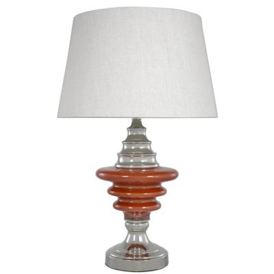 Pearl Terracotta Glass Chrome Orbit Table Lamp With Natural Linen Shade