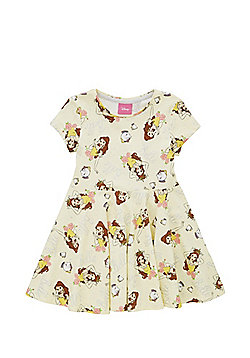 Disney Beauty and the Beast Belle Print Skater Dress - Pale yellow