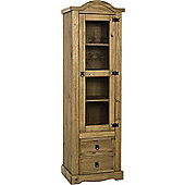 Corona 1 Door 2 Drawer Glass Display Unit in Distressed Waxed Pine/Clear Glass
