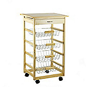 Kitchen Trolley Cart With Chopping Board - Pine