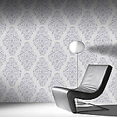 Designer Laurence Llewelyn-Bowen Floribunda Damask Pearl Metallic Wallpaper