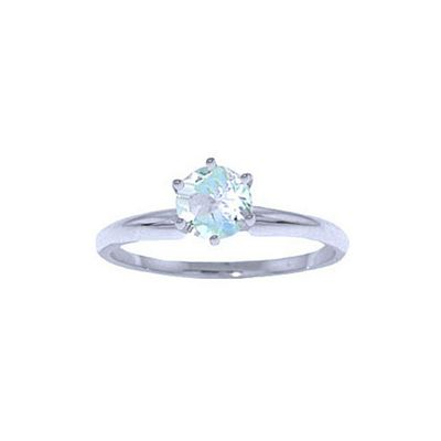 QP Jewellers 0.65ct Aquamarine Crown Solitaire Ring in 14K White Gold - Size X