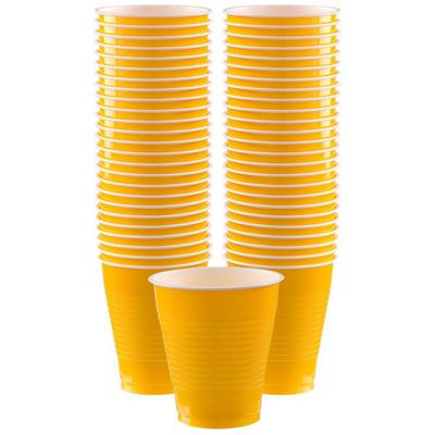 Yellow Cups - 473ml Plastic Party Cups - 50 Pack
