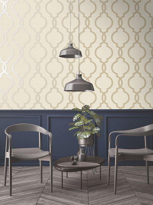 Laticia Geometric Trellis Gold and Cream Wallpaper Holden Decor 65491