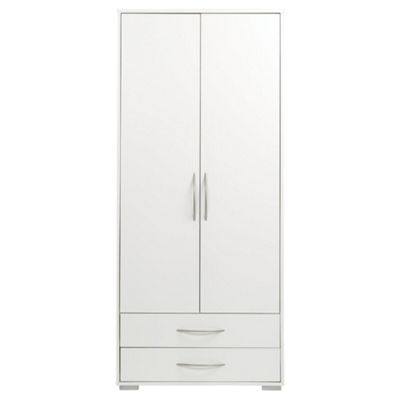 Newport Double Wardrobe with 2 Drawer, White