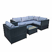 Bermuda Outdoor Black Rattan Corner Sofa Set With Table & Armchair