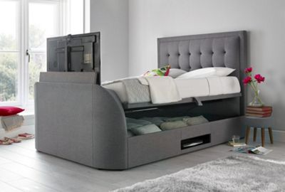 Happy Beds Metro Fabric Ottoman Storage TV Bed - Grey - 6ft Super King