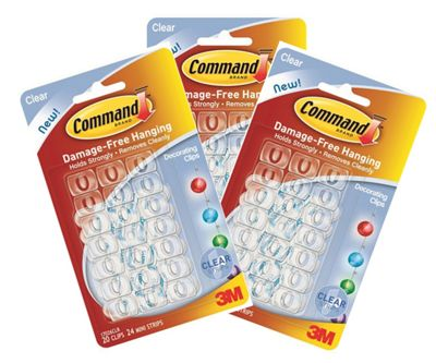 60 Clear Christmas Light Hanging Hooks 3M Command Damage Free