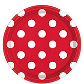 Apple Red Polka Dot Plates - 23cm Paper