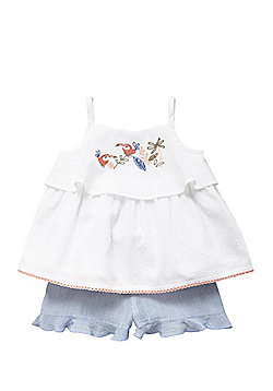 F&F Toucan Embroidered Cami Top and Shorts Set - White/Blue
