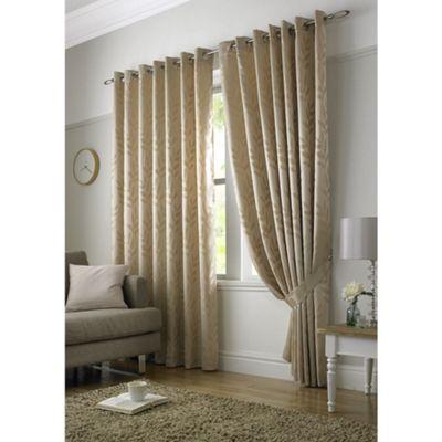 Tivoli Jacquard Latte Leaf Eyelet Lined Curtains - 46x54 Inches (117x137cm)