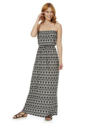 F&F Graphic Print Strapless Maxi Dress Black 12