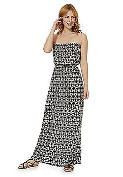 F&F Graphic Print Strapless Maxi Dress - Black