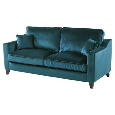 Tate Velvet Large 3 Seater Sofa, Teal