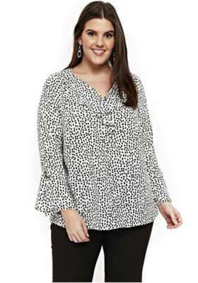 Evans Smudge Spot Frill Front Plus Size Shirt White 26