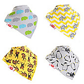 Zippy Baby Unisex Bandana Dribble Bib 4 pack Animal Prints