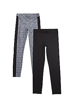F&F Active 2 Pack of Leggings - Black