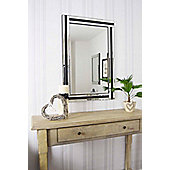 Large Black And Silver Bevelled Triple Edge Wall Mirror 1Ft11 X 2Ft11 60 X 90Cm
