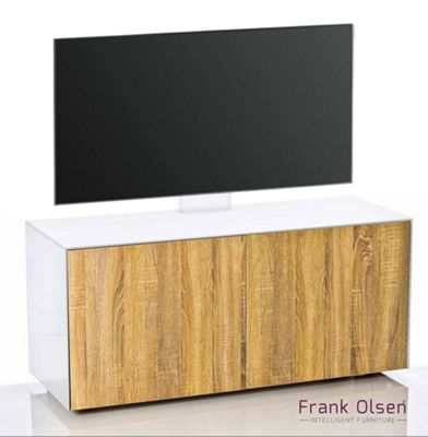 Frank Olsen INTEL1100 White and Oak Cantilever TV Cabinet For TVs Up To 55 inch