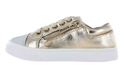 Girls Buckle My Shoe Glitter Gold Low Top Fashion Trainer Shoe UK Size 9