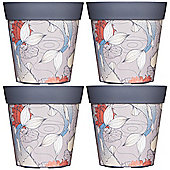 4 x 22cm Grey Ink Fish Plastic Garden Planter 5L Flowerpot by Hum