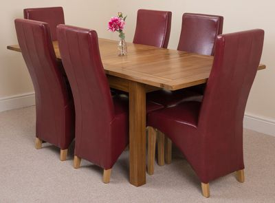 Cotswold Rustic Solid Oak Extending 132 - 198 cm Dining Table with 6 Red Lola Leather Chairs