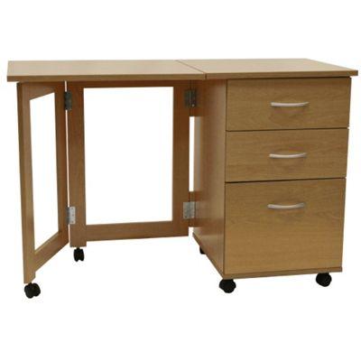 Flipp 3 Drawer Folding Office Storage Filing Desk Workstation Oak