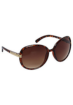 F&F Metallic Trim Tortoiseshell-Effect Oversized Sunglasses One size Brown