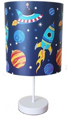 Space Rocket Bedside Lamp - Blue