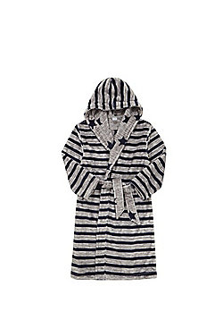 F&F Striped Fleece Reversible Hooded Dressing Gown - Navy & Grey